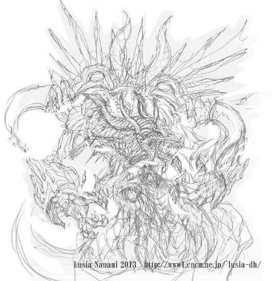 ドラゴンイラスト色贄海竜下書き