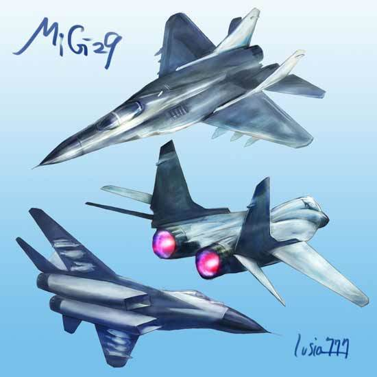 mig29戦闘機のイラストスケッチ