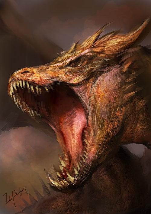 ドラゴンのイラスト、顔のアップ